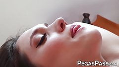 Busty masseuse Leena Rey facialized after pussy penetration