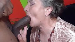 Granny tries the chocolate stick's Thumb