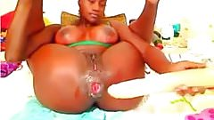 Big Boobs Hot Ass Ebony with huge Dildos and Fist