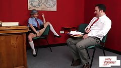 Naughty student instructs teacher to jerk's Thumb