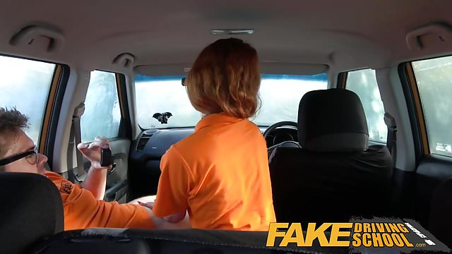 Preview 1 of Fake Driving School Swotty ginger student has pussy filled
