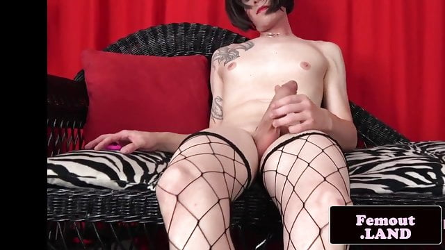 Preview 1 of Stockinged amateur trans tugging her cock