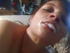 Nasty slut throats dick until cum in mouth