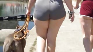 Super thick white girl with spandex shorts wide hips (mod)