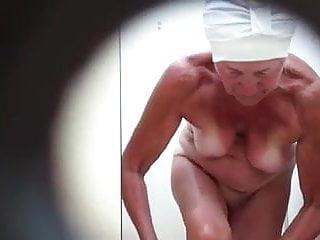 Grandma hidden cam after showering