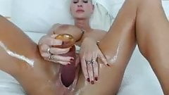 Oiled up viking milf masturbates 8