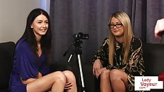 CFNM duo instructing jerkoff in lingerie