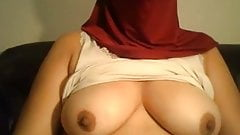 Hijab wearing girl flashes tits, ass and pussy