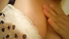 Asaian girl masturbates creamy wet pussy and licks the cum