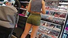 German teen ass in tight shorts