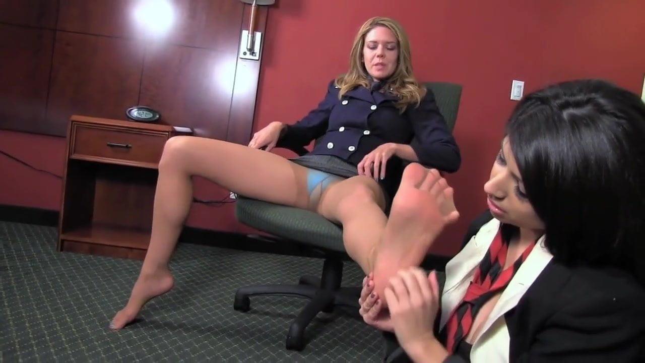office lesbians foot worship, very erotic