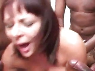 Hot British Milf Fucked by Bench of Black Cocks.