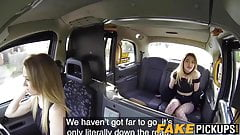 Taxi MILF shares dick in a back seat trio with English skank