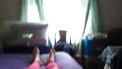 My new pink shiny leggings and purple satin panties.