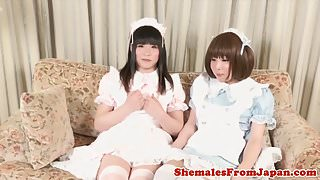 Cosplay nippon ladyboys analfuck in twosome
