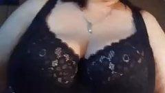 granny with big tits in black bra