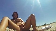selfie fingering on a beach