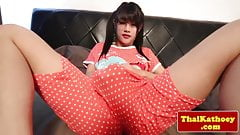 Thai shemale assfucked after dildo analplay