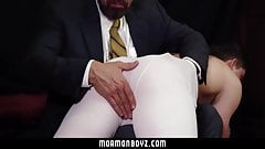 MormonBoyz - Priest daddy spanks jock butt bent over knee
