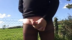 Pantyhose Masturbation Outdoor