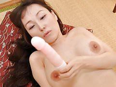 Big Tits Japanese MILF uses Dildo