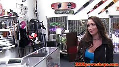 Tattooed pawnshop babe fucks for quick money