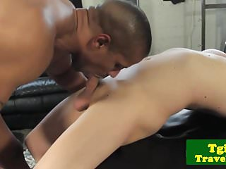 Preview 3 of Tgirl rides black dick in interracial couple