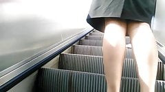 Upskirt on escalator 25