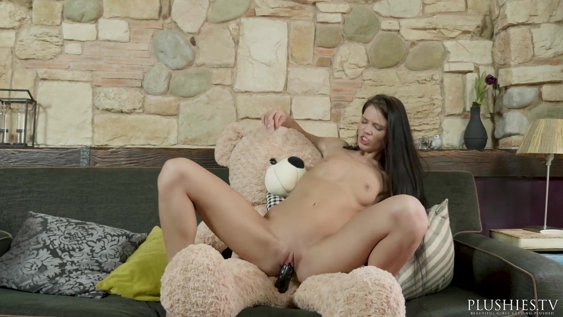 Girl having sex with plushie