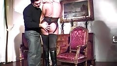 Hot blonde tranny takes a stiff cock and cumshot