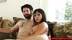 Asian slut rough throated until facialized