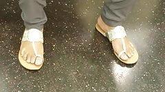 Candid ebony feet light blue toes pt2