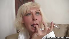 3some party with blonde granny widow1