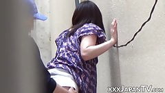 Japanese woman sucking and getting roughly banged outdoors