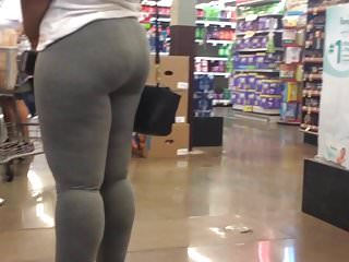Thick Booty Shake Candid Quickie in Grey Leggings