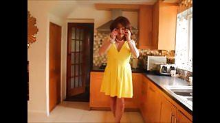 Yellow summer pleated dress