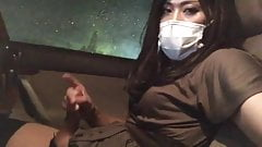 Asian CD Masturbating In Her Car