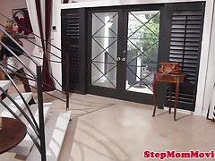 Stockinged stepmom licks teen in taboo trio