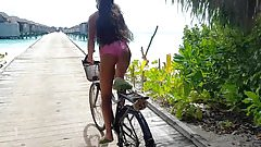 french slut sexy ass on a bike in microshort voyeur beach