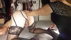 sissy pussy fucked with lollipop, dildo and fist