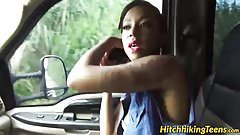 Gorgeous ebony babe Diamond Monroe enjoys outdoor drilling