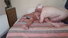 Older chubby guy sucks my cock and swallows cum