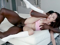 Tiny cute babe Kiley Jay takes huge hard cock in her cunt