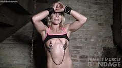 Naked Female Muscle Cougar in Pain from Nipple Clamps