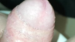Jacking my fat wet uncut cock to foot mistress feet with cum