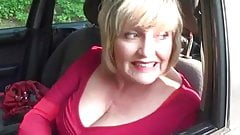 Big tits Granny gives road head oudoors in car meet