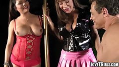 Busty Ava Devine stretched hard by a hot TS in a threesome
