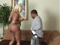Curvy blonde ebony gets hard doggy style fuck