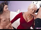 Blonde Mom with Huge Tits shows Her how it's done