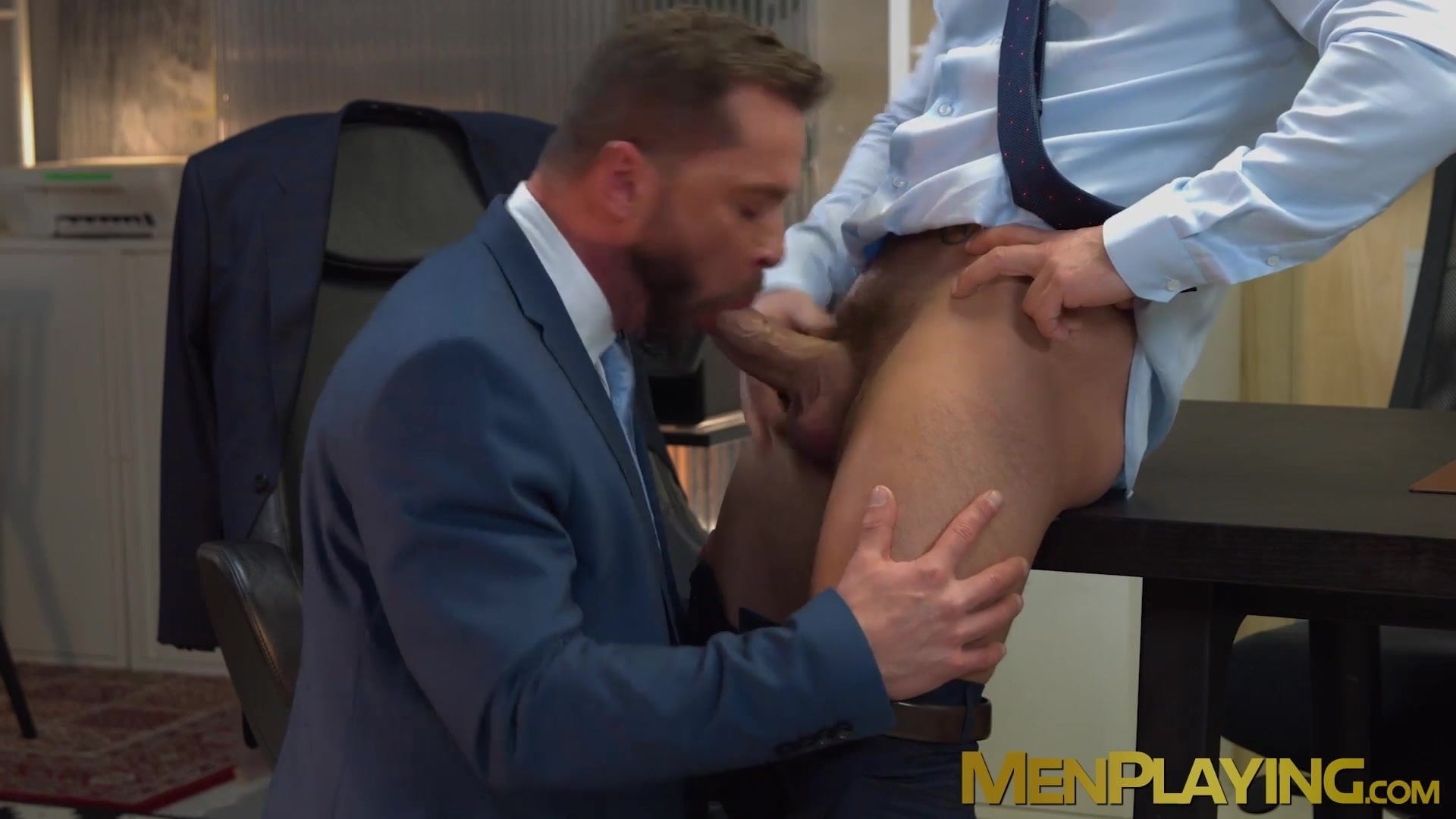 Businessmen stain their workplace desk and tools with cum